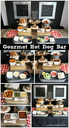 Gourmet Hot Dog Bar including ideas for party decorations, recipe ideas, hot dog toppings, and more. This is a great idea for a BBQ party! Gourmet Hot Dogs, Gourmet Burgers, Hot Dog Toppings, Hot Dog Bar, Soirée Bbq, Bbq Bar, Gourmet Festival, Wedding Buffet Food, Food Buffet