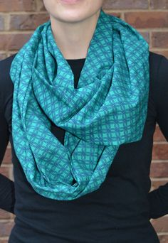 Blue and Green repeating circles scarf circle by MohawkScarves