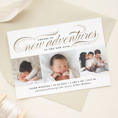 new year birth announcement card in gold foil