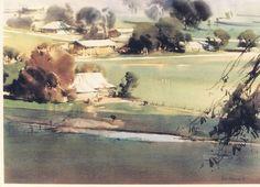 An August Morn,Avenel-WC 55 x 75 cm Ross Paterson Watercolor Artists, Watercolor Portraits, Watercolor Techniques, Watercolor Landscape, Watercolor And Ink, Urban Landscape, Landscape Art, Landscape Paintings, Landscapes