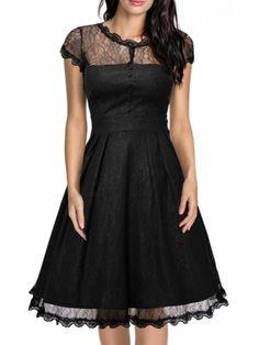 kup damskie princeska sukienka perspektywy Koronkowa szwy z okrągłym dekoltem przylegająca sukienka & Sukienki - w Jollychic