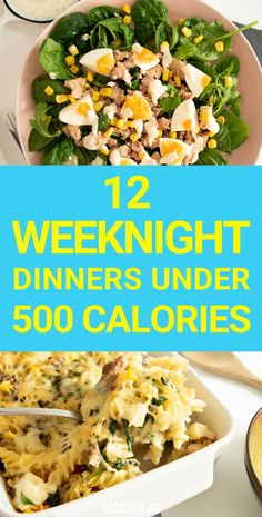 These are 12 easy weeknight dinners you can enjoy with less than 500 calories per serving. If you're trying to shed a few pounds then having some discipline in your food choices is going to be a game changer for you. 500 Calorie Dinners, Dinners Under 500 Calories, Low Calorie Recipes, Easy Healthy Recipes, Clean Eating Kids, Clean Eating Soup, Clean Eating Recipes, Healthy Eating, Healthy Food