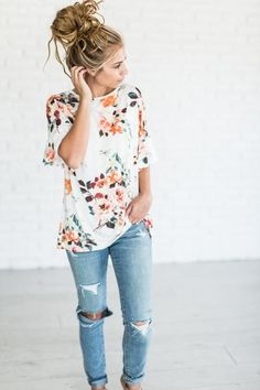 Alexia Floral Top - Off White - Mindy Mae's Market