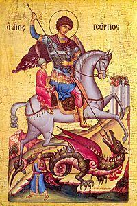 Saint George, patron saint of England, in a Medieval Byzantine Icon. Byzantine Art, Byzantine Icons, Catholic Saints, Patron Saints, Religious Icons, Religious Art, Patron Saint Of England, Saint George And The Dragon, Saint Georges