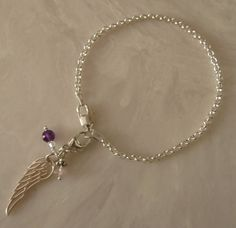 925 Sterling Silver Angel Wing Charm Mini Rolo by NikkiHillsDesign, $45.00