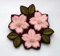 Image of Pink Cherry Blossom Trio Brooch