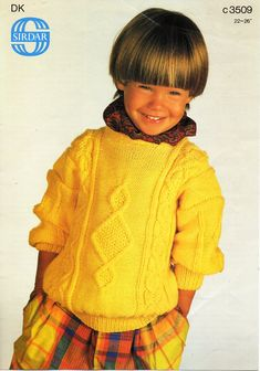 """childs / childrens sweater knitting pattern pdf cable jumper round neck 22-26"""" DK light worsted 8ply childrens knitting pattern download by Minihobo on Etsy"""
