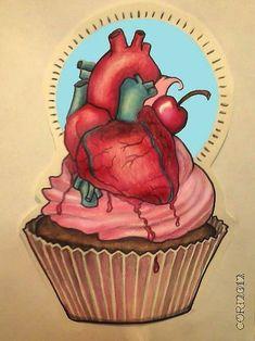 Cake Heart Tattoo Design