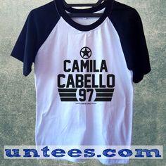 Camila Cabello Fifth Harmony Basic Baseball Tee Black Short Sleeve Cotton Raglan T-shirt