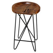 Bare Decor Aloha Backless Teak Counter Stool with Metal LegsThis counter stool will be the highlight of any pub or kitchen. Enjoy the gorgeous natu. Wooden Bar Stools, 24 Bar Stools, Counter Height Bar Stools, Swivel Bar Stools, Wood And Metal, Solid Wood, Backless Bar Stools, Small Stool, Dining Room Bar