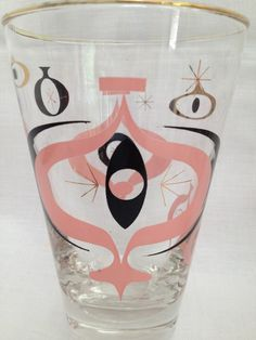 Libby Pink Black Mid Century Modern Glass  style is seville... should you see these i need them, thats all