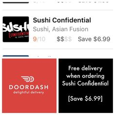 Downtown Campbell: Say WHAAAAT??!!! FREE DELIVERY from Doordash when you order from Sushi Confidential?? Kevin from DoorDash called last night to let us know that we are rated the best service & food through doordashdeliveryWhich means DoorDash is offering FREE delivery from us to our customers.  #getafterit #freedelivery #doordash #sushiconfidential #sushirandy #dtsj #downtowncampbell #sushi #sushifix #alcohol @campbellwatertower by sushiconfidential