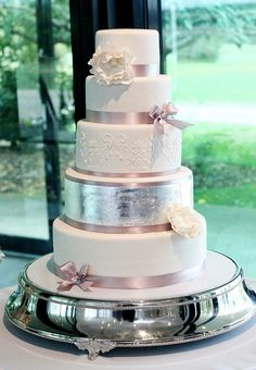 5 Tier Wedding Cake with Stencil work and Silver Leaf by Say it with Cake Emma Vernon