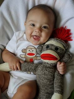 Sock Monkey embroidered onesie/bodysuit made to order by 13days, $15.00