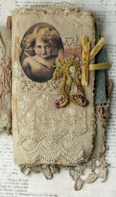 MIXED MEDIA FABRIC COLLAGE BOOK OF CHERUBS | eBay