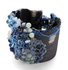 Doris Maninger, bracelet, silver, textile, beads and stones