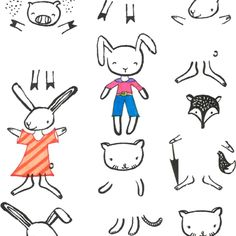 Blog   Dear Stella Design   love the idea of embroidering the outfits on the little animals!