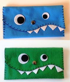 felt boy pencil cases - sewing idea that boys might like - no instructions but fairly self explanitory by naomial Sewing Projects For Kids, Sewing For Kids, Sewing Crafts, Craft Projects, Crafts For Kids, Tape Crafts, Boys Pencil Case, Pencil Cases, Diy Pour Enfants