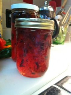 Blueberry Pepper Jelly. This is Lauri Jo Bennett's recipe. If you aren't up for doing it, you can order it from www.laurijossouthernstylecanning.com  I've made this with blueberries as well as with peaches. Blueberry is definitely my favorite and may be the best pepper jelly ever. Since I have 3 blueberry bushes, I use my own and that makes it even better!