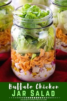 This Buffalo Chicken Jar Salad is so loaded with flavors that it is anything but boring. This easy healthy salad is a must try to religiously follow that New Year's resolution you made! Diet Salad Recipes, Winter Salad Recipes, Healthy Holiday Recipes, Raw Food Recipes, Lunch Recipes, Jar Recipes, Chicken Recipes, Dinner Recipes, Easy Salads