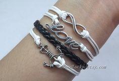Anchor Bracelet,Love Bracelet,Infinity Bracelet,Silver Bracelet--white wax rope and black Leather braided bracelet on Wanelo