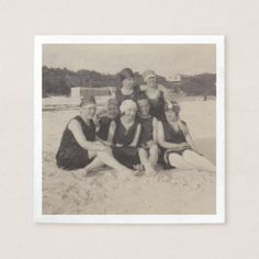 Beach Group 1920 Vintage Photograph Paper Napkin - kitchen gifts diy ideas decor special unique individual customized