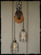Light Fixture from Re-purposed Vintage Pulley