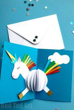 3D Unicorn Card DIY - oh man. Calling all Unicorn fans.. HOW CUTE are these pop up unicorn cards? And you know what... they are SO EASY to make. Yes, I promise they are. Especially as we have templates and printables for you too... find out more today and suprise someone with a magic unicorn 3d Card DIY Diy For Kids, 4 Kids, Diy Unicorn Birthday Card, Easy Diy Birthday Cards, Printable Birthday Cards, Birthday Card Pop Up, Birthday Card Template, Unicorn Party, Birthday Diy