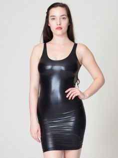 Nylon Tricot Scoop Back Tank Pencil Dress