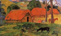 The Three Huts, c.1891 - Paul Gauguin - WikiArt.org