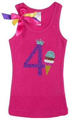 GIrls 4th Birthday Outfit, Mint Chocolate Chip Chocolate Strawberry Ice Cream Cone, Ice Cream Social, Sparkle Birthday Tee, Personalized by BubbleGumDivas on Etsy
