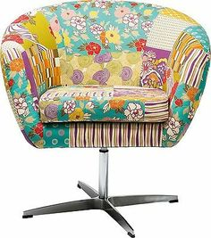 Drehstuhl Patchwork Polsterstuhl Sessel Patchwork Flower Power NEU KARE Design