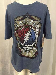 Grateful Dead Rock & Roll Hall Of Fame Mineral Wash Denim T-Shirt Mens Sz XL New #HallOfFame #EmbellishedTee