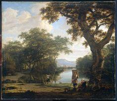 Joris Abrahamsz. van der Haagen (Dutch Baroque Era Painter, ca.1615-1669). Landschap met visser met kruisnet
