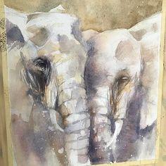 Watercolor Elephants, by Katrina Pete. #watercolor #elephants #elephantpainting #elephant #art #painting #animals
