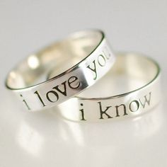 Star Wars Rings- Han & Leia -Pair of Solid Sterling Silver His and Hers Wedding Bands in your choice of font via Etsy