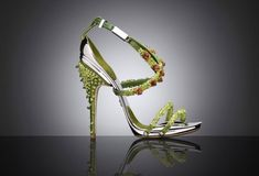 Conspiracy by GianlucaTamburini  Poisonneuse sandals, 2012  Peridot and amethyst gems, aluminum  Courtesy Conspiracy by Gianluca Tamburini