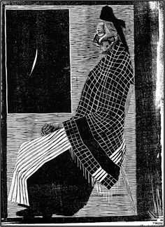 "M. C. Escher- ""Seated Old Woman""- 1920, Woodcut."