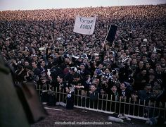 Tottenham Hotspur fans seen here on F.A. Cup final day before the start of the match against Leciester City 6th May 1961