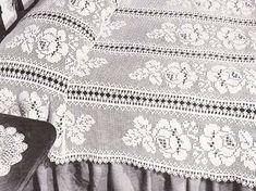 PDF Crochet Pattern Adored Floral Filet Bedspread Instant Download