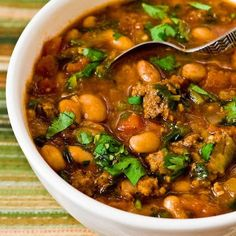 Pressure Cooker (or Stovetop) Recipe for Pinto Bean and Ground Beef Stew with Cumin and Cilantro; perfect to make and freeze for quick lunches or dinners later. [from KalynsKitchen.com] #PressureCooker #GlutenFree #FamilyFriendly