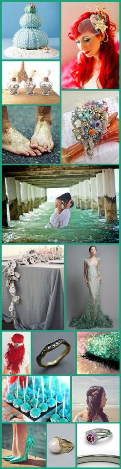 Mermaid Themed Wedding does this take my obsession too far? NOPE.  :) my theme!! @Amanda Snelson Mayes @Sarah Kerner Portillo
