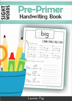Sight Words Handwriting Book (Pre-Primer Words) This book contains a collection of pre-primer sight word worksheets intended to be used with children in Preschool, Kindergarten (Prep) and Grade 1 as assessment or revision tool. Kindergarten Language Arts, Preschool Literacy, Kindergarten Writing, Kindergarten Activities, Writing Activities, Teaching Reading, Early Literacy, Kindergarten Classroom, Teaching Ideas