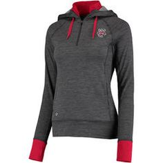 Women's Colosseum Charcoal Wisconsin Badgers Double Back Half-Zip Fitted Jacket