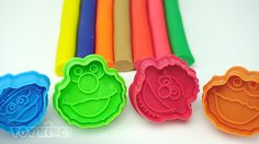 Learn Colours with Play Doh Modelling Clay Elmo Cookie Cutters