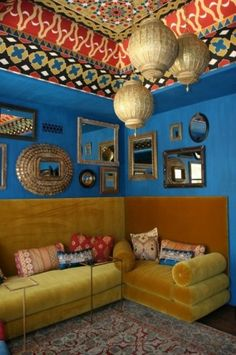 morrocan style - colors, prints, mirrors -- GORGEOUS!