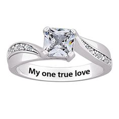 CZ and Diamond Engraved 'My one true love' or 'Always and Forever' Ring