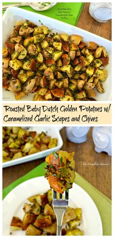 Roasted Baby Dutch Golden Potatoes w/ Caramelized Garlic Scapes & Chives - The Complete Savorist Vegetarian Recipes, Cooking Recipes, Healthy Recipes, Scape Recipe, Farmers Market Recipes, Menu, Dinner Sides, Vegetable Side Dishes, Side Dish Recipes