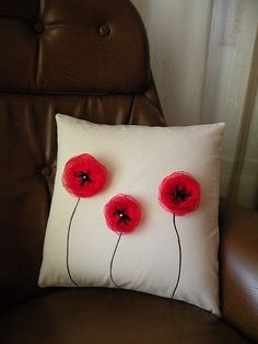 Burlap Throw Pillow decorated 3 Red Poppies, Burlap pillow, Pillow cover with Red flowers on Etsy, $19.00