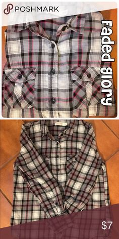 Faded Glory 100% cotton flannel shirt Faded Glory 100% cotton flannel shirt. Button down. Sleeves button at wrist or can be buttoned at elbow with loop. Black, gray, and pink plaid. Faded Glory Tops Button Down Shirts